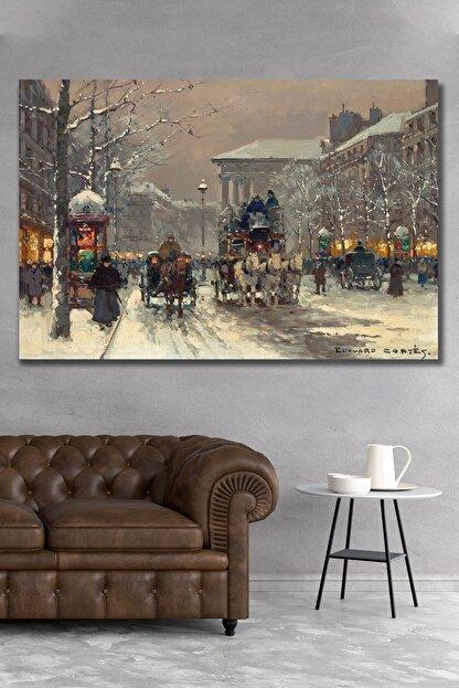 Hediyeler Kapında 70x100cm Londra Ve Kış Kanvas Duvar Tablo