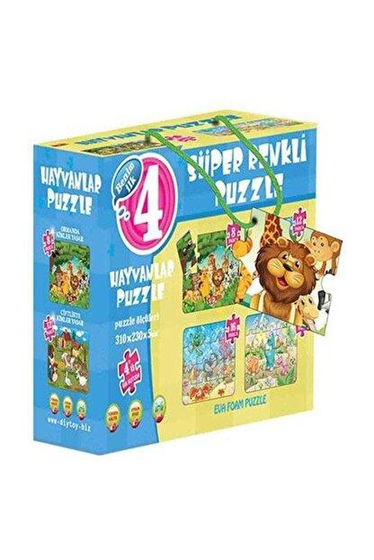 DIY Toys Puzzle Hayvanlar 4ü Bir Kutuda Süper Renkli