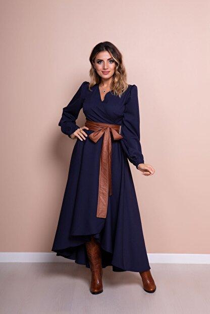 Bidoluelbise Kadın Lacivert Deri Kemerli Uzun Kol Asimetrik Kesim Elbise