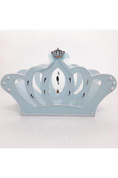 Sevgi Bağı Ahşap Kral Tacı Bebek Şekeri Sepeti Hediyelik Sepeti Mavi