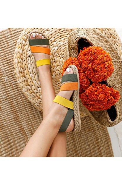 Muggo Kadın Yeşil Şeritli Sandalet