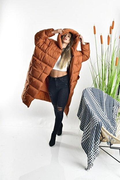 Linada Outfit Kadın Taba Uzun Oversize Şişme Mont