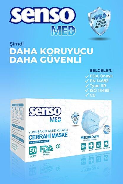 Senso Med Meltblown Elastik Kulaklı Cerrahi Maske 100 Adet Sensomed Tip2r( %99.6'a Koruma Sertifikalı)