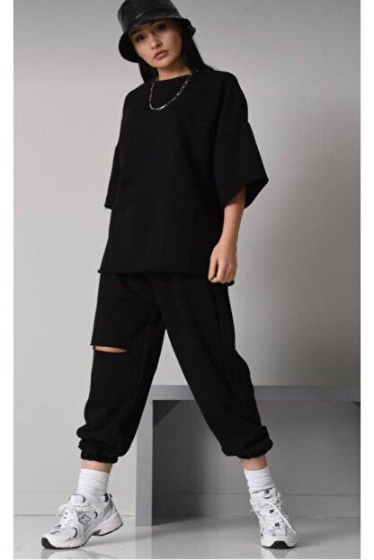 ronay giyim Oversize Kadın Siyah Eşofman Takımı