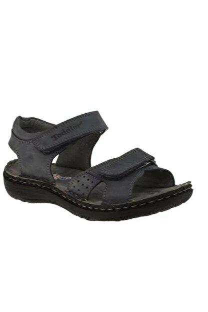 Toddler 01406 Çift Cırtlı Doğal Deri Gri Çocuk Sandalet 3
