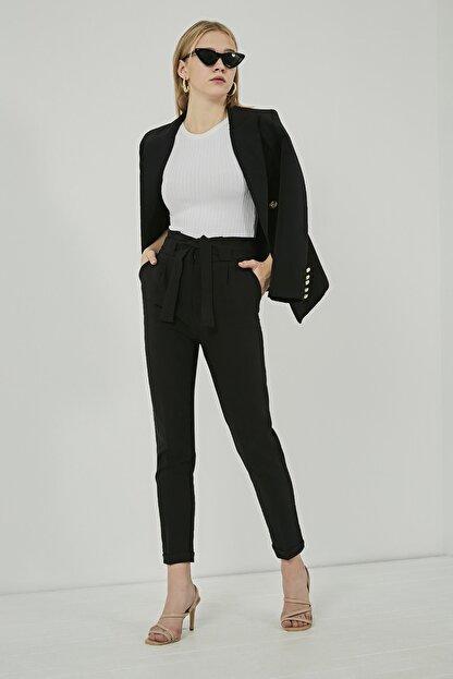 Sateen Kadın Siyah Kuşaklı Yüksek Bel Pantolon