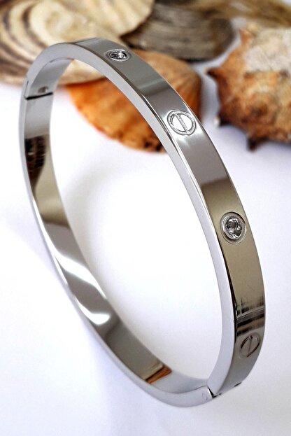 Bin1Gecem Takı Kadın Gümüş Renkli Zirkon Taşlı Paslanmaz Çelik Cartier Bileklik 18 cm