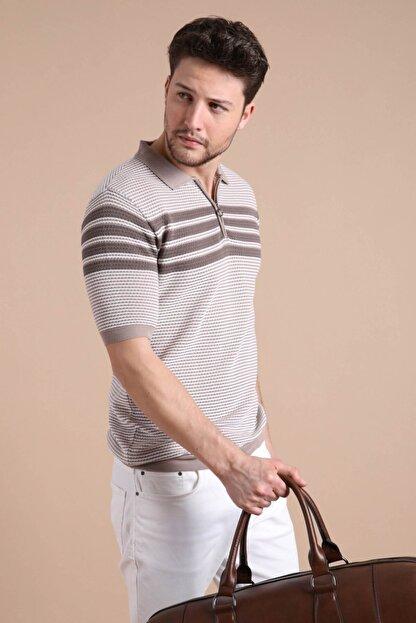 Ferraro Erkek Bej  Polo Yaka Fermuarlı Pamuk Triko T-Shirt