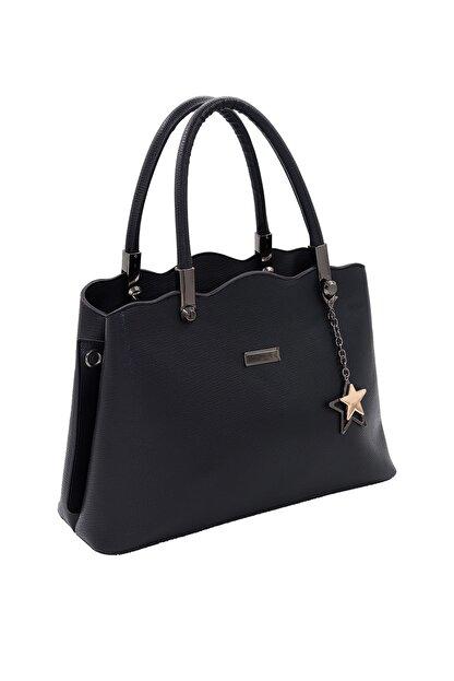 SheBella Bags & Shoes Sorrento Çift Bölmeli Yıldız Anahtarlıklı Siyah Renk Kadın Kol / Omuz Çantası