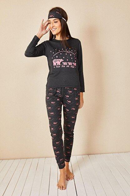 Morpile Kadın Antrasit Baskılı Pijama Takım