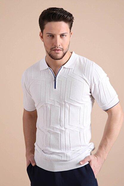 Ferraro Erkek   Beyaz Polo Yaka Fermuarlı  Pamuk Triko T-Shirt