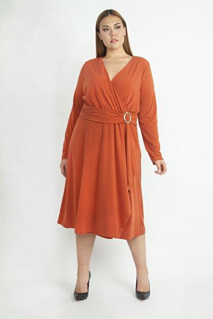 Şans Kadın Oranj Bel Detaylı Abiye Elbise 65N19418