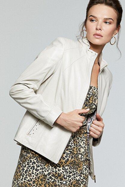 Derimod Kadın Bej Grace Deri Ceket