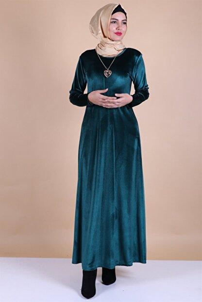 MODA STORE Kadın Mavi Kadife Kolyeli Tesettür Elbise 5473