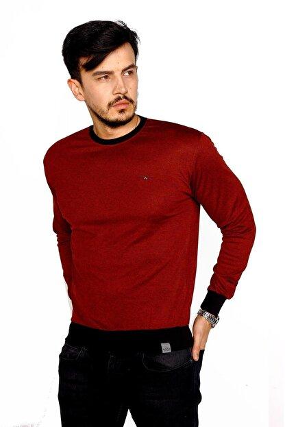 BESSA Erkek Bordo Bisiklet Yaka Mikro Polyester Likralı Sweatshirt