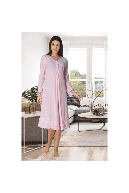 Effort Pijama Kadın Pembe  Dantel Detaylı Lohusa Emzirme Gecelik