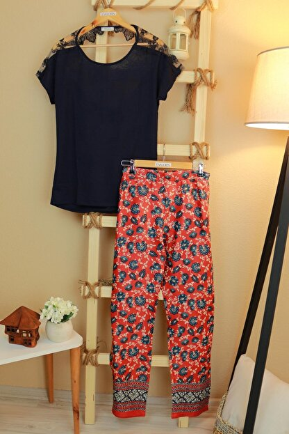 Feyza Pijama Kadın Lacivert Pijama Takımı