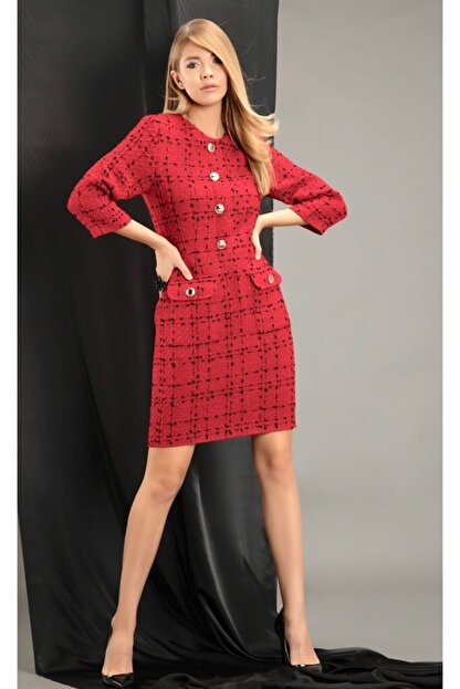 THE NUQUELLA Kadın Kırmızı Kumaş Elbise