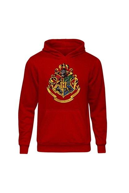 Fandomya Unisex Kırmızı Harry Potter Hogwarts Iı Kapüşonlu Hoodie Sweatshirt