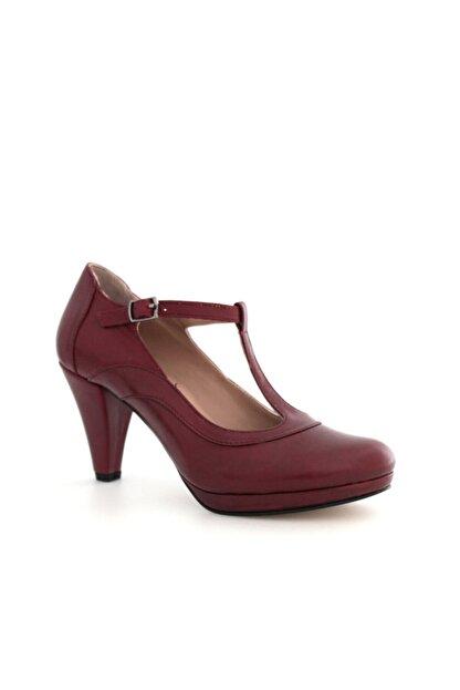 Beta Shoes Kadın Hakiki Deri Topuklu Ayakkabı Bordo
