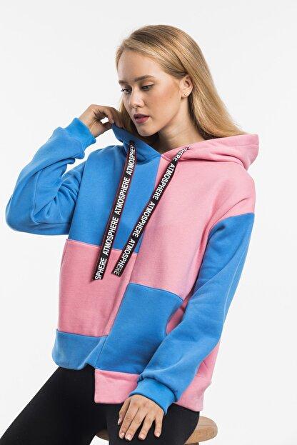 RAYZ Kadın Mavi Pembe Parçalı Kapüşonlu Oversize Sweatshirt