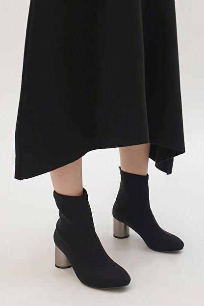 Marjin Confila Kadın Streç Topuklu BotSiyah