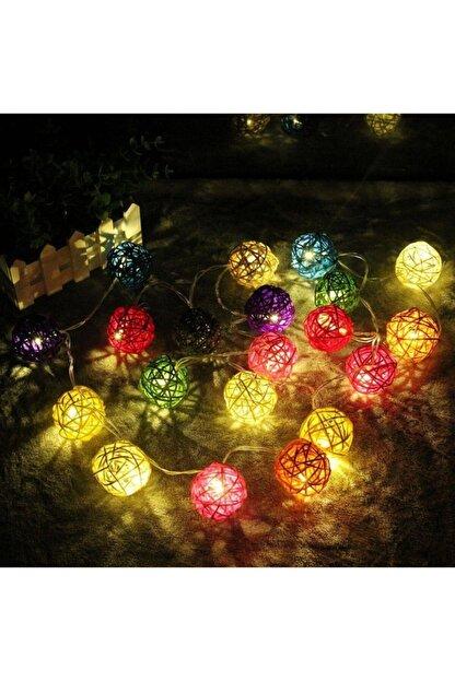 Evene Dekoratif Led Işıklı Rengarenk Bambu Toplar 3 Metre Rattan Top Işık