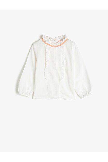 Koton Kız Bebek Ekru Dik Yaka Uzun Kollu Pamuklu Bluz