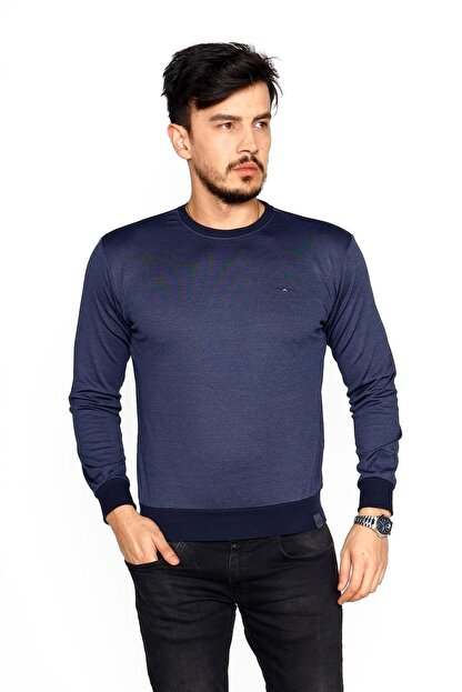 BESSA Erkek Indigo Bisiklet Yaka Mikro Polyester Likralı  Sweatshirt
