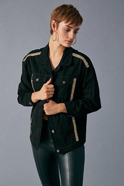 Robin Kadın Siyah Şerit Detaylı Jean Ceket