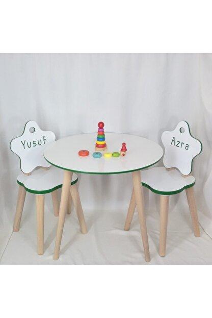 All dizayn Çocuk Masa Ve Sandalye Takımı, 1 Yuvarlak Masa - 2 Yıldız Sandalye