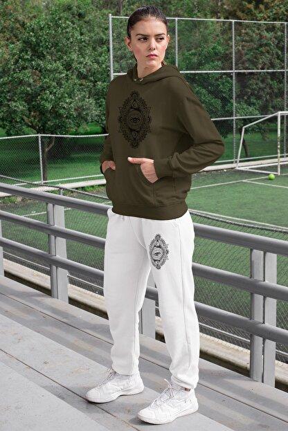 Angemiel Kadın Yeşil Eşofman Takımı Kapüşonlu Sweatshirt Beyaz Eşofman Altı