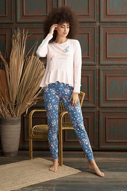 İPEKTENİM Kadın Pembe Fırfırlı Pijama Takım