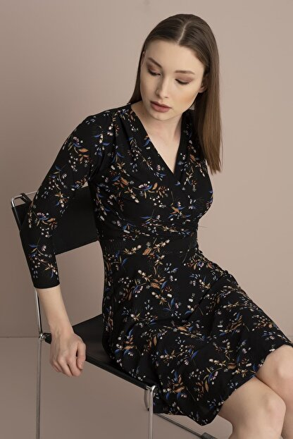 Tena Moda Kadın Siyah Örme Crep Kruvaze Elbise
