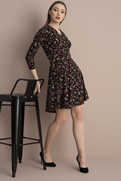 Tena Moda Kadın Kırmızı Çiçekli Örme Crep Kruvaze Elbise