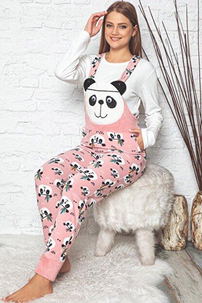 Pijamaevi Kadın Pembe Panda Desenli Kadın Bahçıvan Polar Peluş Tulum Pijama Takımı
