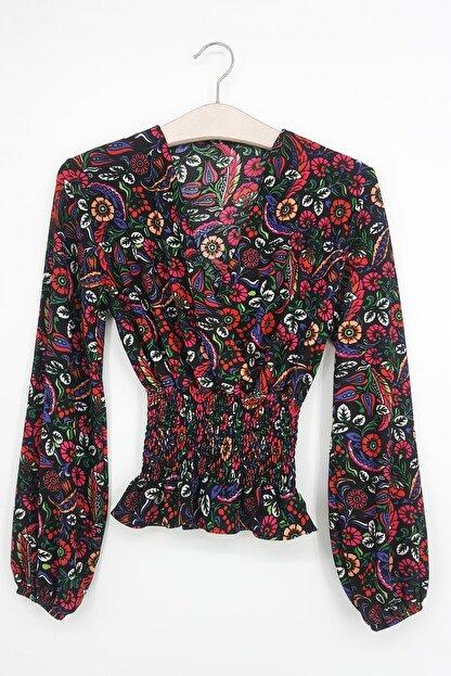 Tena Moda Kadın Fuşya Örme Crep Gipeli Bluz