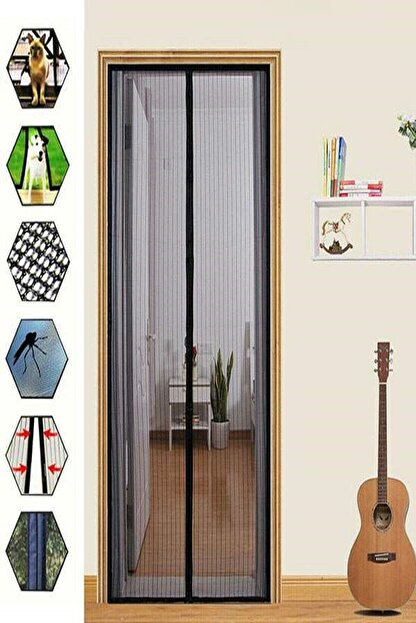 adisda Mıknatıslı Pencere Kapı Sinekliği Sineklik Tülü Perde Siyah