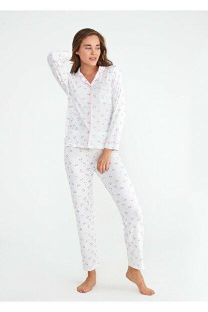 Suwen Kadın Ekru Young Mother Maskulen Pijama Takımı