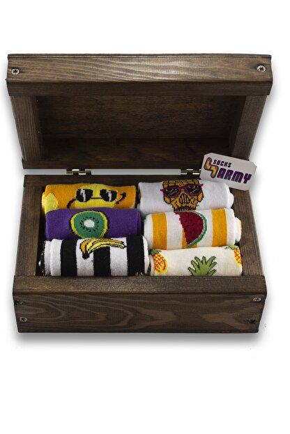 Socksarmy Unisex Meyve Desenli 6'lı Ahşap Kutu Renkli Çorap Seti
