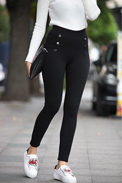 Grenj Fashion Kadın Siyah Düğme Ve Çıma Detaylı Yüksek Bel Toparlayıcı Kışlık Tayt