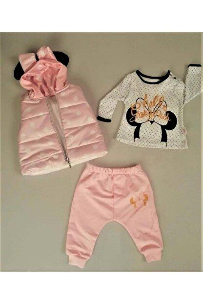 Hippıl Baby Kız Bebek Çocuk Kapüşonlu Yelekli Hello Desen Badili 3 Parça Takım-0313