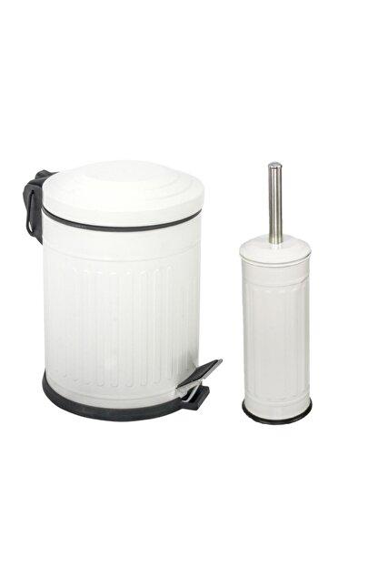 Foreca Beyaz Çizgili Vintage 2 Li Banyo Seti