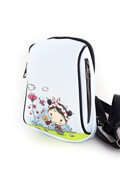 LOOLICO Kadın Beyaz Anime Şanslı Kız Tasarım Çanta
