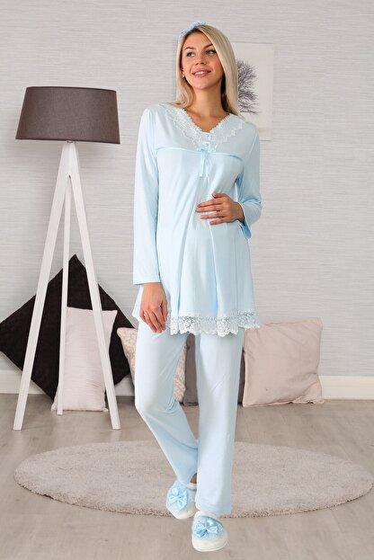 lohusahamile Kadın Mavi Gizli Emzirme Özellikli Lohusa Pijama Takımı 6032