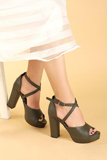 Ayakland Kadın Yeşil Platform Topuklu Ayakkabı 11 cm 3210-2058