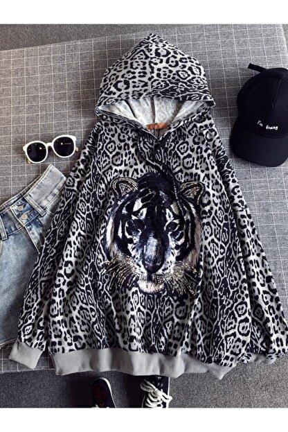 ELBİSENN Kadın Siyah Beyaz Kapüşonlu Leopar Desen Payetli Sweatshirt