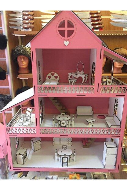 GENÇ MÖBLE Gençmöble - Ahşap Barbi Çocuk Oyun Evi - 60 Cm Pembe