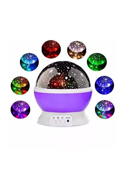 Patladı Gitti Renkli Ve Dönen Star Master Projeksiyon Gece Lambası Mor