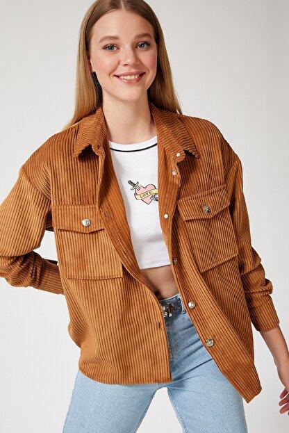 Happiness İst. Kadın Camel Kadife Hafif Oversize Gömlek DD00768